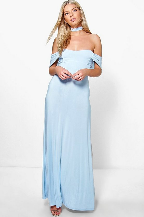 Ramone Choker Off The Shoulder Maxi Dress