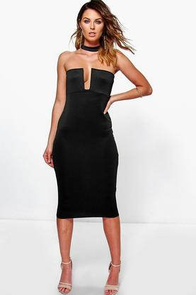 Noelia Choker Plunge Midi Dress