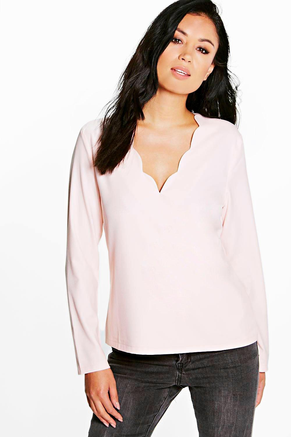 Tara Scallop Edge Wrap Over Blouse