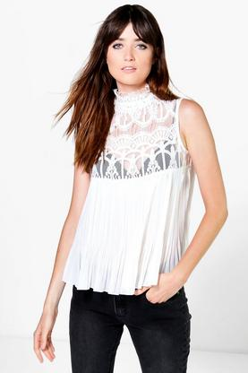 Katie High Neck Lace Sleeveless Pleated Blouse