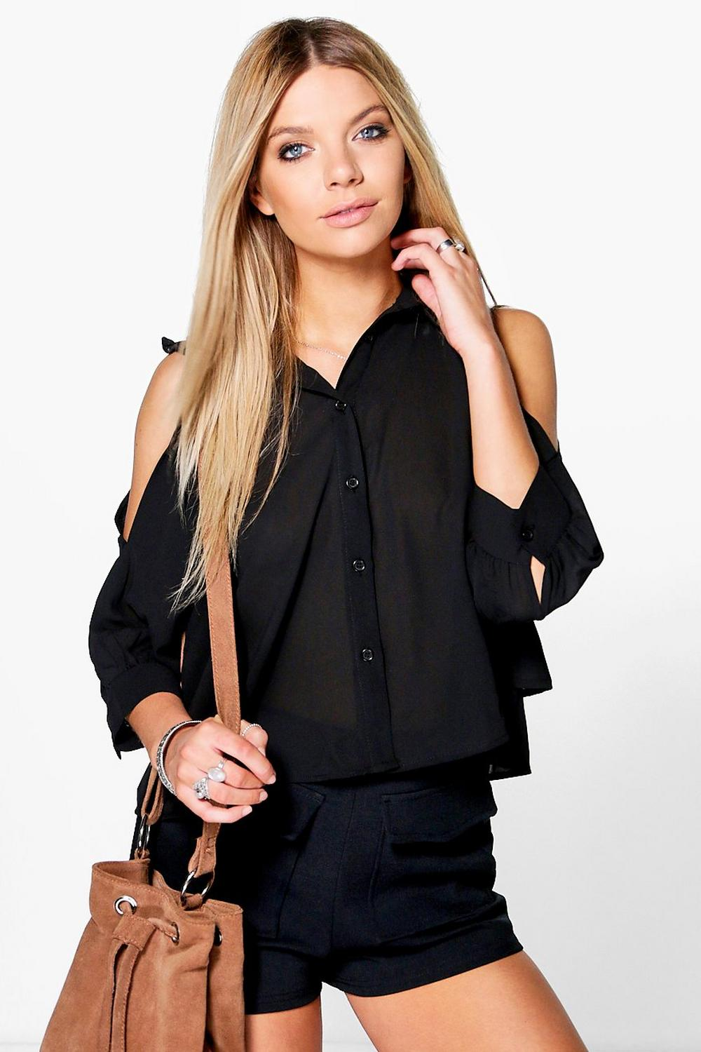 Tanya Cold Shoulder Ruffle Collar Blouse