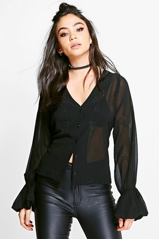 Grace Embroidered Star Frill Ruffle Sleeve Blouse