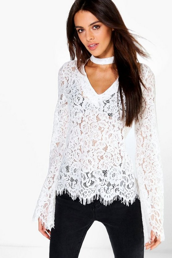 Choker Detail All Over Lace Blouse