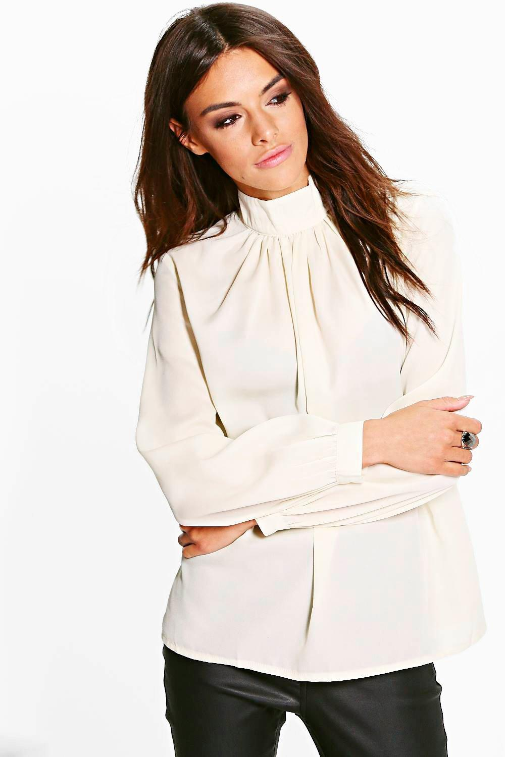 Emma Funnel Neck Woven Blouse