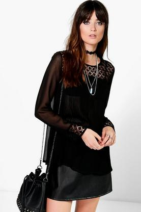 Kate Pleated Crochet Trim Blouse
