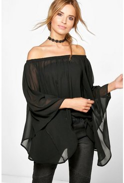 Tanya Volume Sleeve Sheer Bardot Tunic