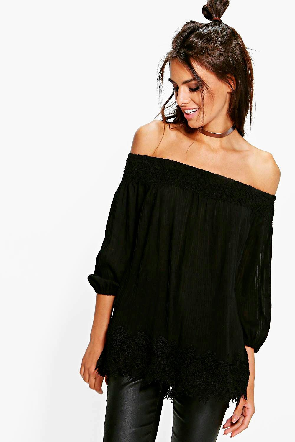 Cara Pleated Chiffon Lace Trim Bardot Top