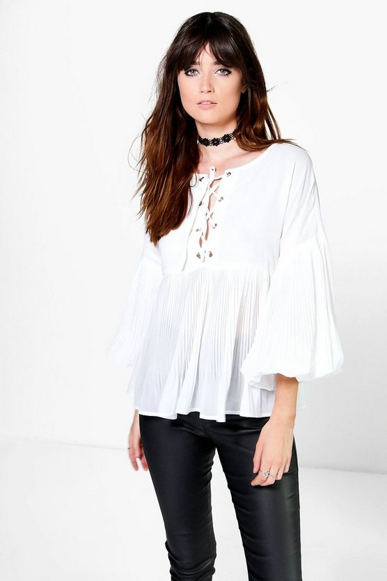 Sophie Lace Up Blouson Sleeve Pleated Blouse