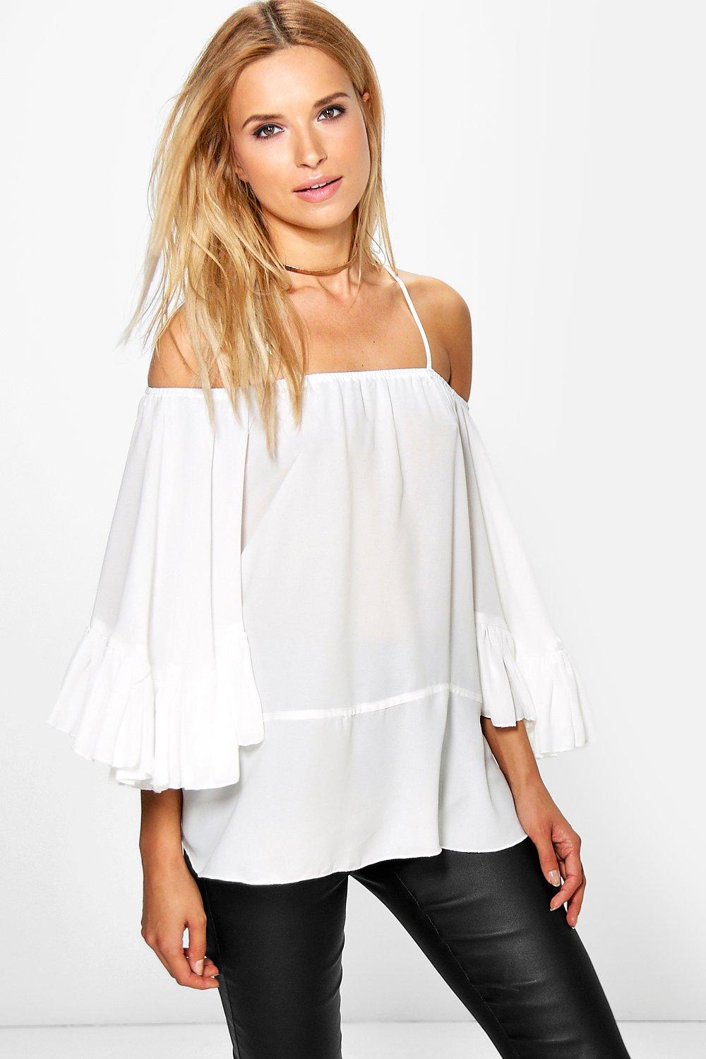 Emma Cold Shoulder Ruffle Sleeve Top