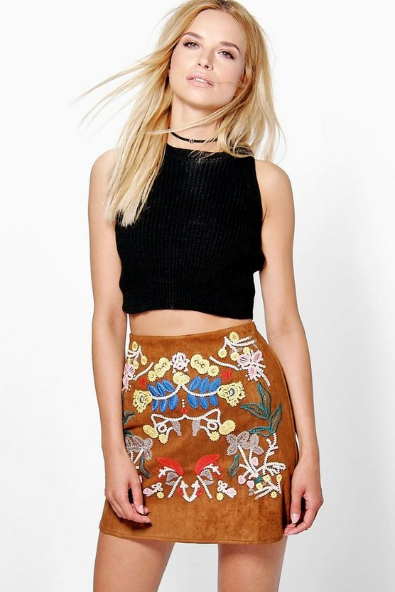 Boutique Embroidered A Line Suedette Skirt