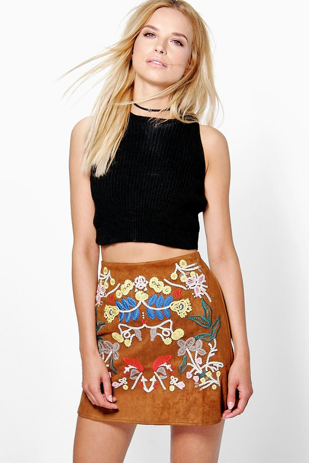 Boutique Kate Embroidered A Line Suedette Skirt