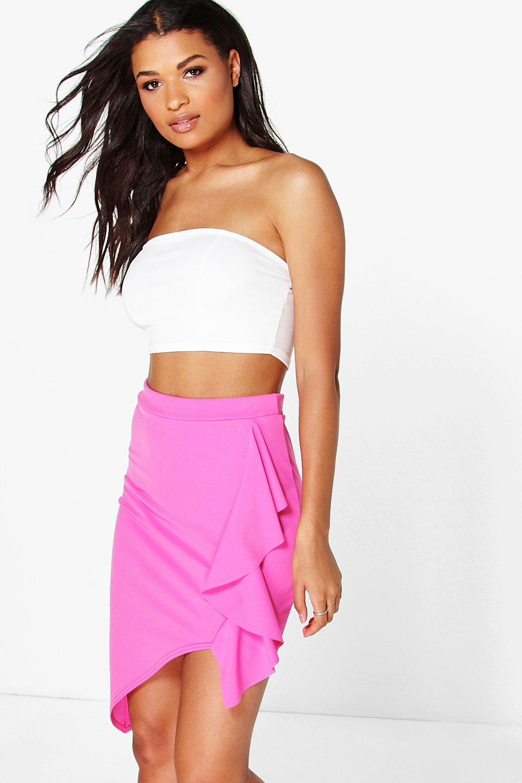 Ruffle Side Asymetric Mini Skirt  pink