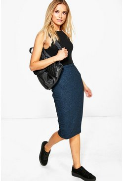 Anisha Ribbed Bodycon Midi Skirt