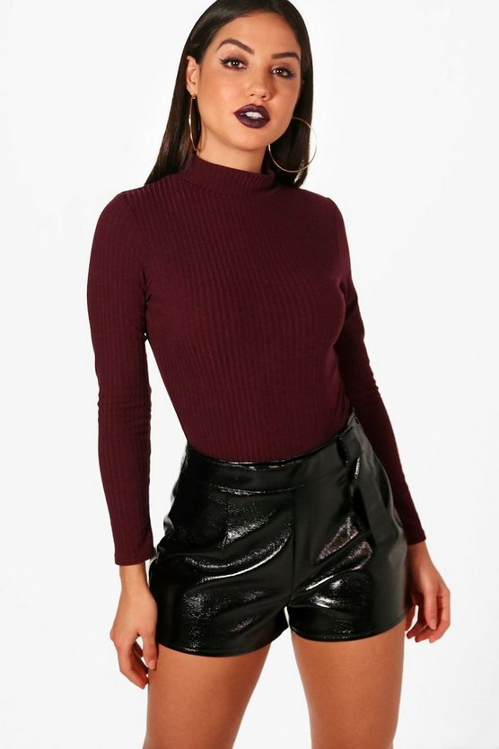 Turtle Neck Long Sleeve Knitted Bodysuit