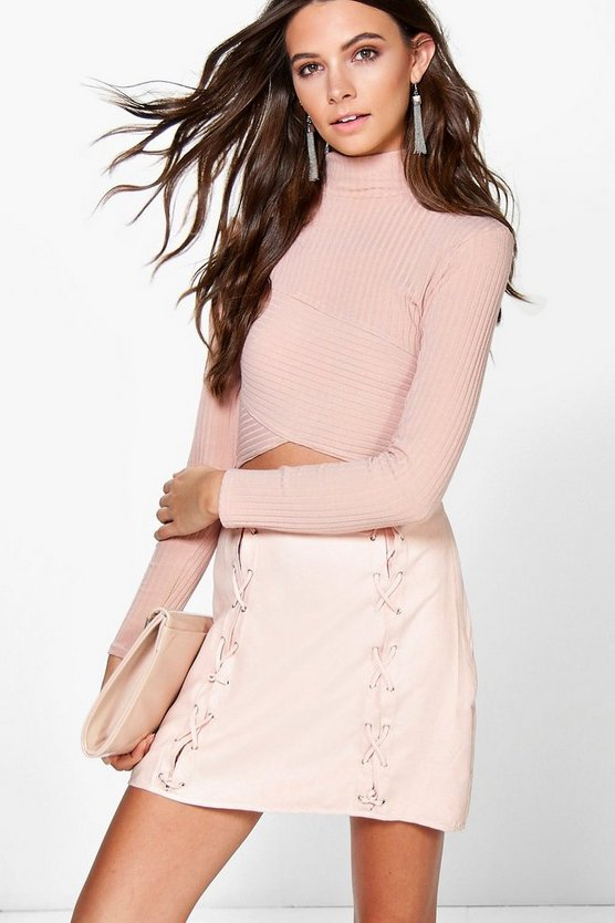 Romana Lace Up Front Suedette Mini Skirt