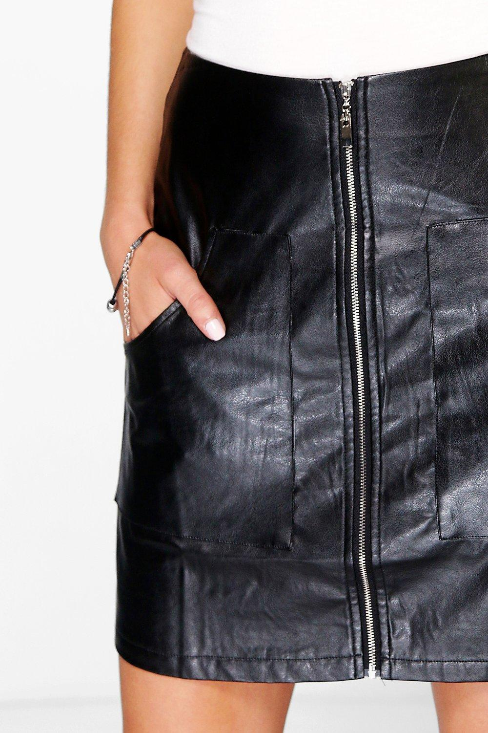 boohoo gisella pocket front leather look a line skirt ebay