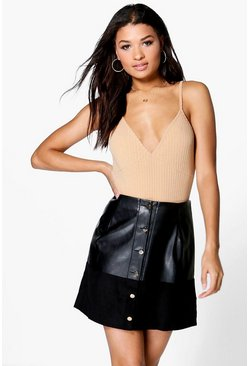 Adelaide Button Through A Line Leather Look Skirt