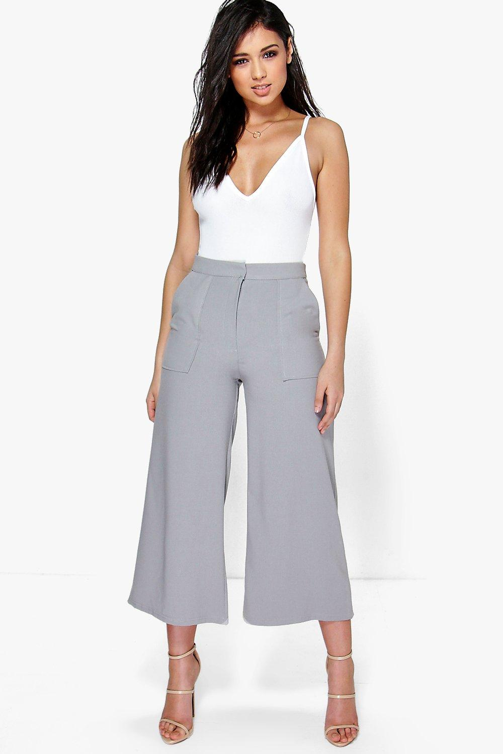 Pocket Front Wide Leg Cropped Woven Trousers grey