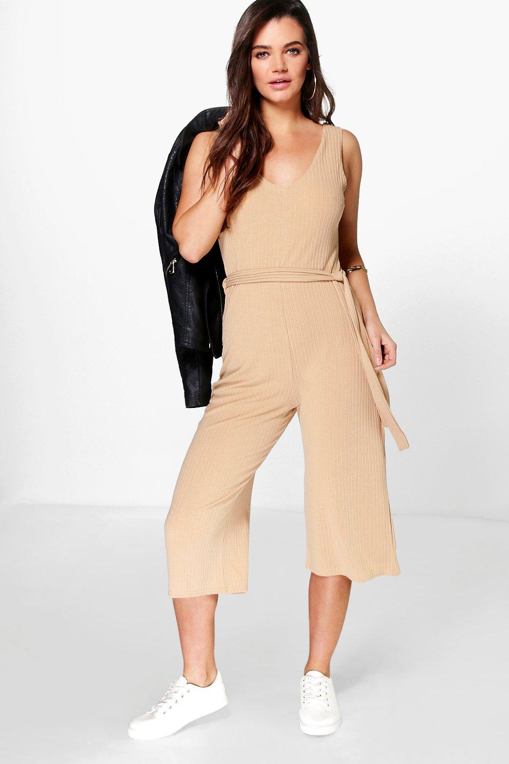 Lottie Ribbed Culotte Self Belt Jumpsuit