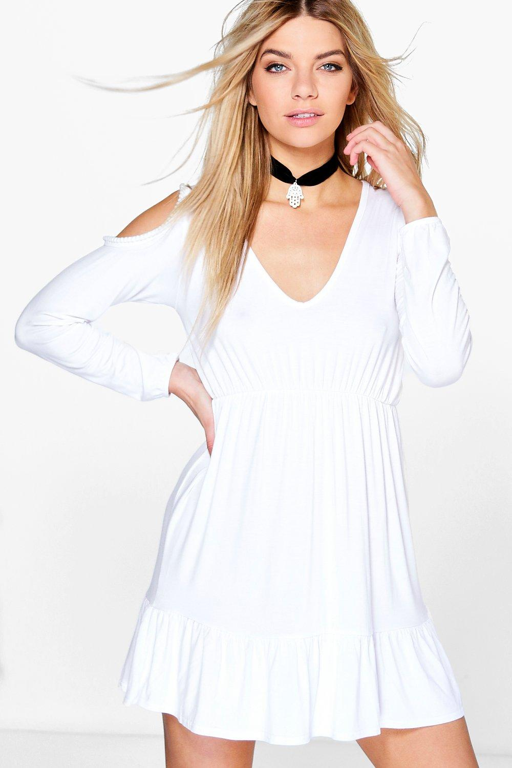 Polly Pom Pom Cold Shoulder Frill Hem Skate Dress