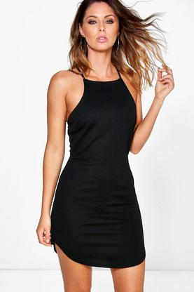 Selina High Neck Curved Hem Bodycon Dress