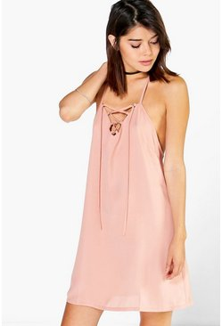Helena Lace Up Strappy Swing Dress