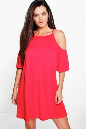 Lucia Strappy Textured Cold Shoulder Swing Dress