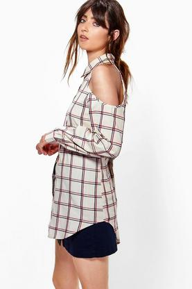 Katie Cold Shoulder Check Shirt