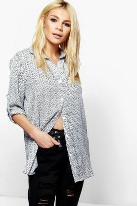 Amy Oversized Sketchy Zig Zag Print Shirt