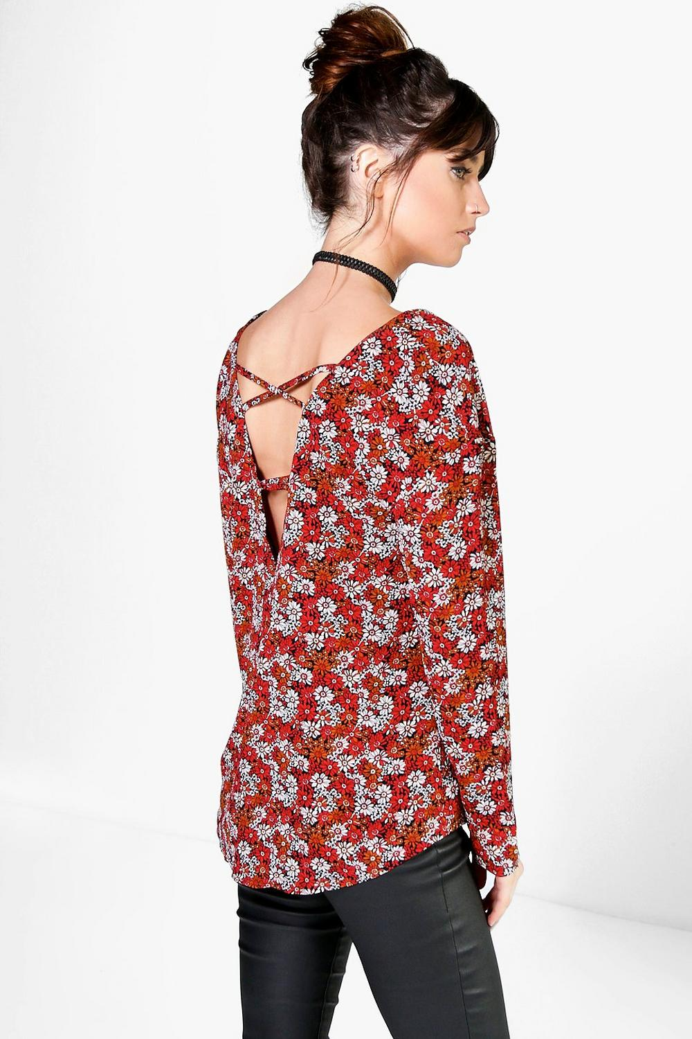 Lacey Floral Print Cross Back Detail Blouse