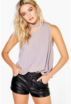 Erin Wrapover Sleeveless Neck Choker Tie Blouse