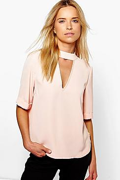 Millie 3/4 Sleeve Open Neck Blouse