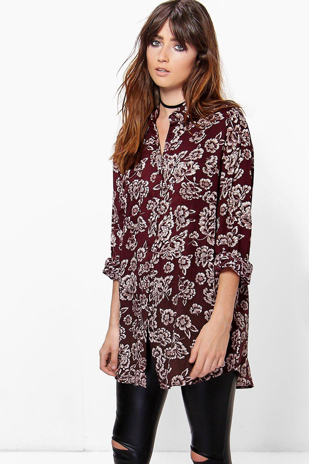 Lilly Floral Print Oversized Shirt