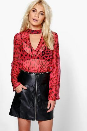 Holly Leopard Print Open Neck Detail Blouse