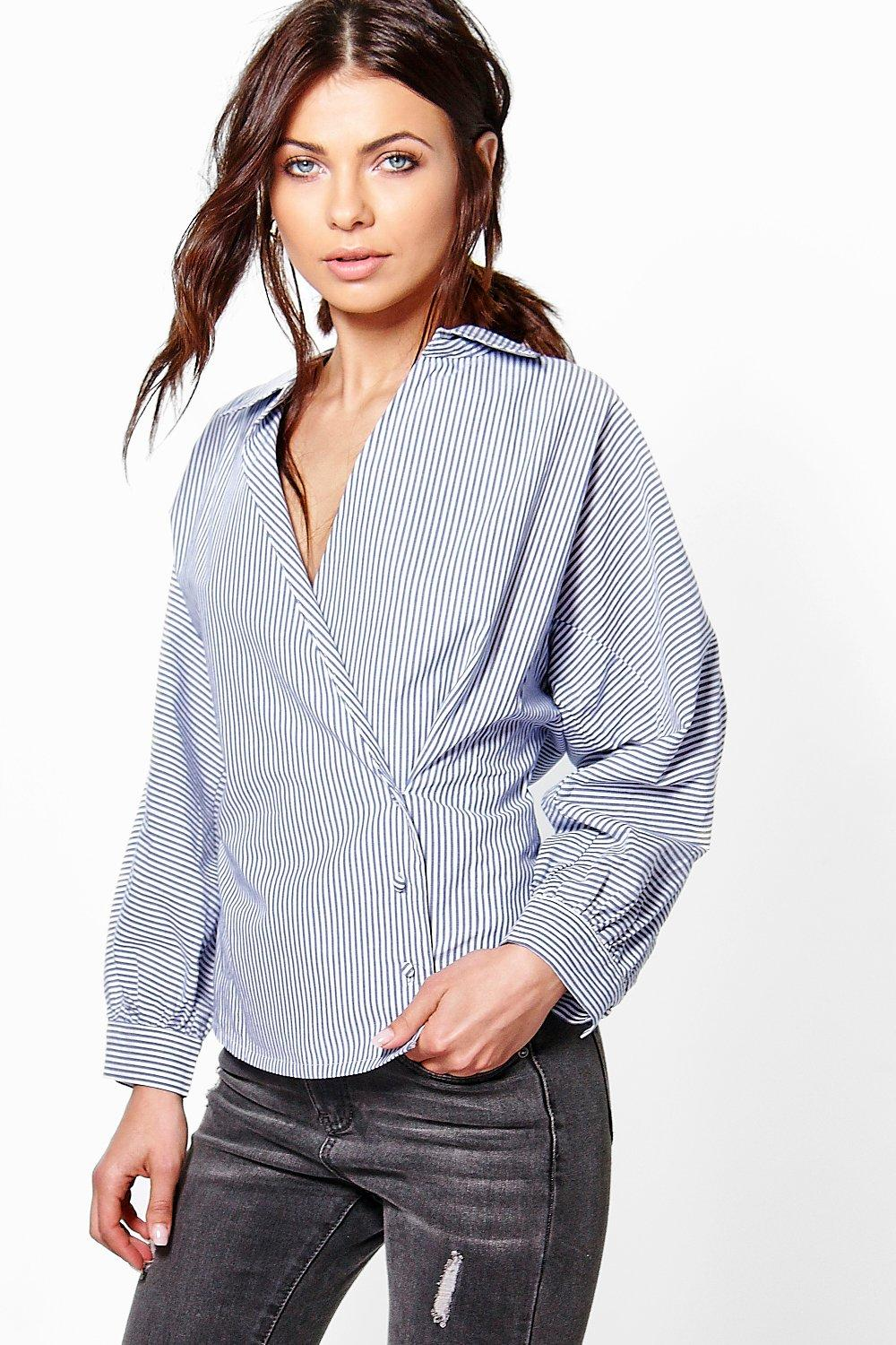 Lucy Striped Cotton Wrapover Shirt
