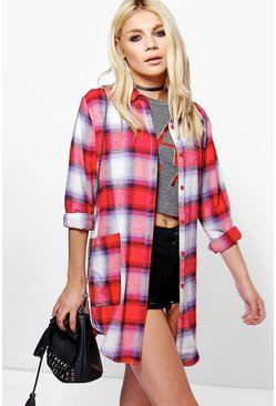 Freya Oversized Brushed Check Pocket Shirt