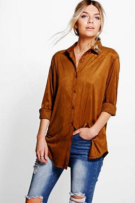 Sophia Embroidered Collar Suedette Shirt