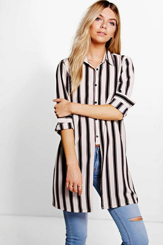 Evie Striped Open Back Longline Shirt