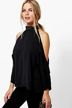 Ruby Hochgeschlossene Bluse mit ausgeschnittenen Schultern - Boohoo.com
