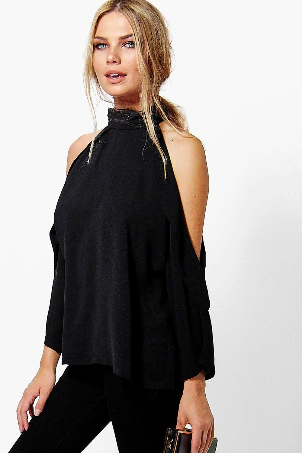 Ruby Open Shoulder High Neck Blouse