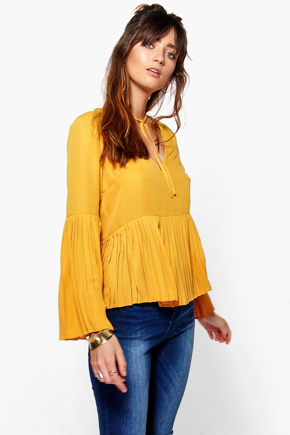 Emily Pleat Hem Tie Neck Woven Top