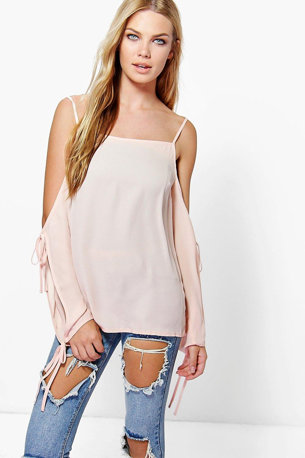 Jessica Cold Shoulder Tie Sleeve Top