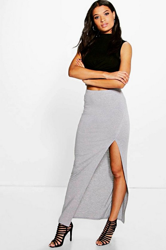 Alivia Sliced Front Jersey Maxi Skirt