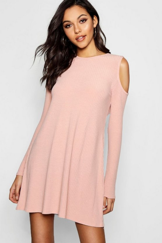 Cold Shoulder Soft Rib Knit Swing Dress
