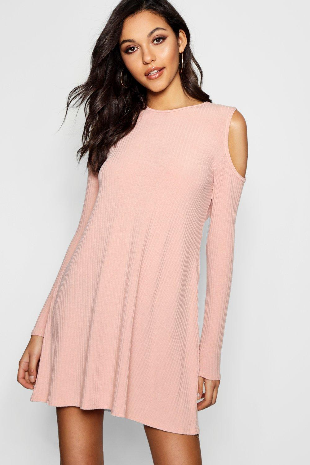 Lily Cold Shoulder Soft Rib Knit Swing Dress