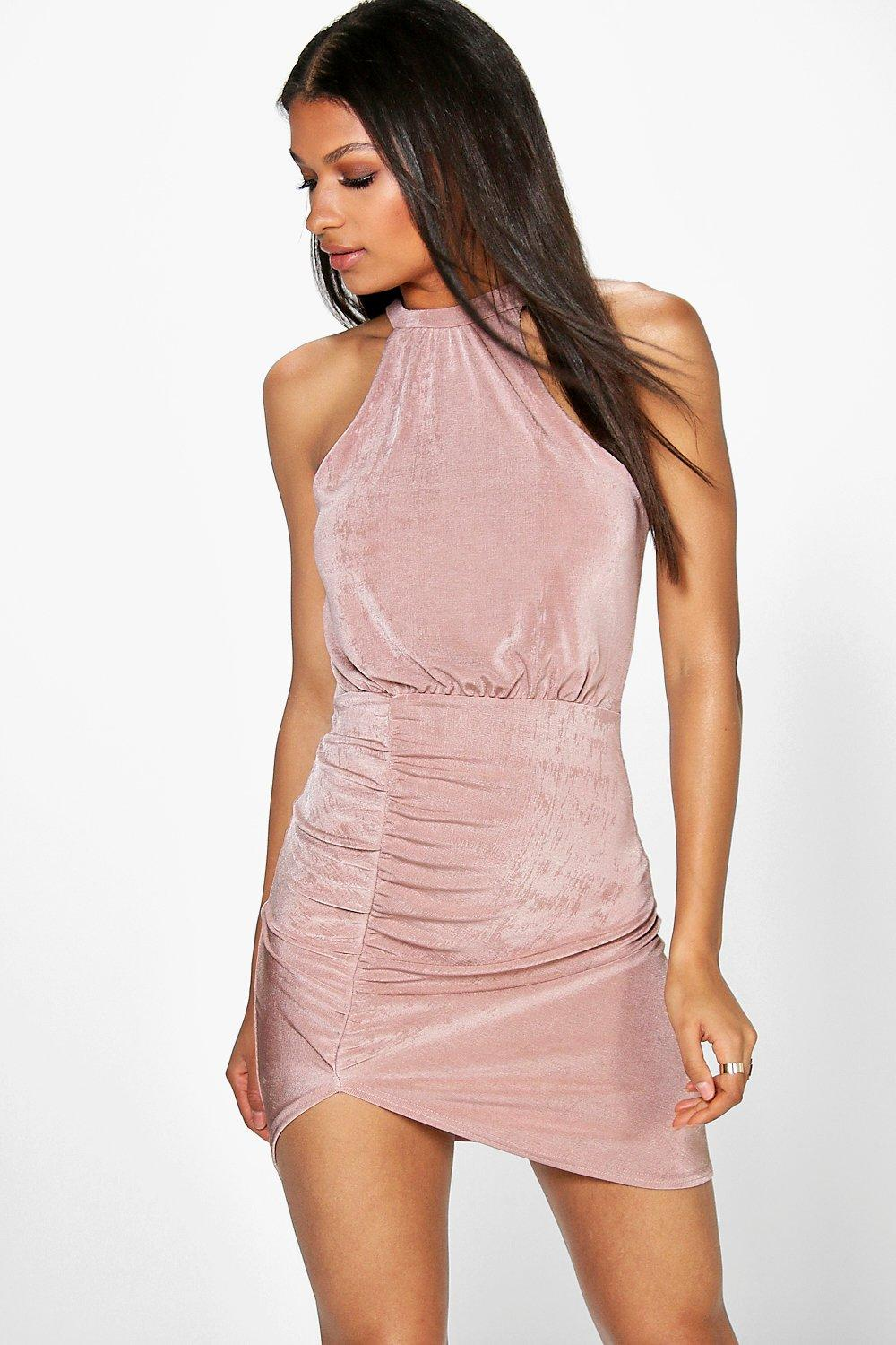 Chris Textured Slinky Ruched Bodycon Dress