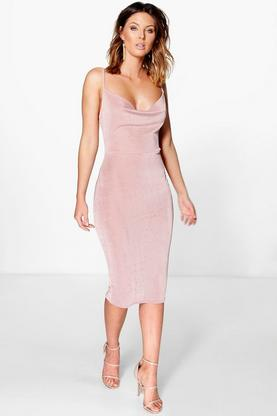 Bianca Textured Slinky Cowl Neck Midi Dress
