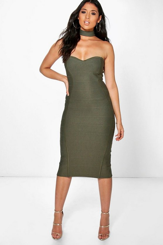 Loren Bandage Choker Midi Bodycon Dress