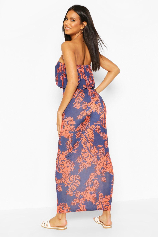 Lily Palm Printed Bandeau Detail Maxi Dress   Boohoo