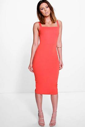 Hedda Square Neck Open Back Midi Bodycon Dress